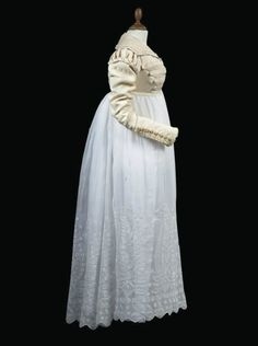 Silk spencer jacket and embroidered muslin skirt ca. 1820-1825