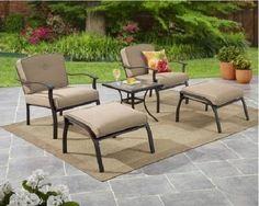 5 Piece Patio Bistro Set Garden 2 Chairs 2 Ottomans Side Table & 4 Tan Cushions  #5PiecePatioBistroSet