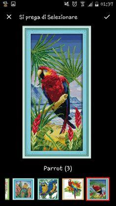 Parrot cross stitch Pappagallo punto croce