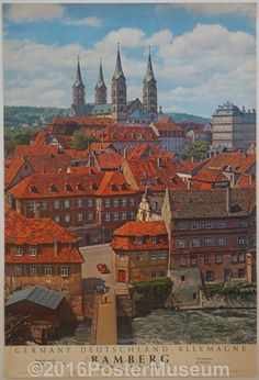 Germany travel poster. Circa 1935. Original. Printed in Germany. 1000 year old catherdale town