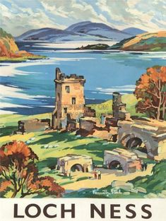 A Vintage Tourism Travel Advertising Poster Available in Sizes & Printed on High Quality Glossy Art Paper Unframed Ideal for Home, Office, Posters Uk, Retro Poster, Railway Posters, Vintage Travel Posters, Poster Prints, Art Prints, Poster Poster, Scotland Castles, Loch Ness Scotland