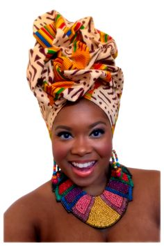 """The Crowned In Royalty """"Black Panther"""" collection ignores rules and supersedes boundaries. It celebrates the richness of African culture and celebrates virtue and bold individuality. This collection appeals to the one who knows her royalty and exudes it, Tribal African, African Women, African Scarf, African Hairstyles, Scarf Hairstyles, African Beauty, African Fashion, African Accessories, African Head Wraps"""