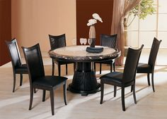 Bari Round Marble Top Espresso Table With Chairs Pedestal Tables And