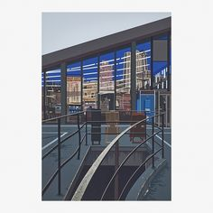 From Rago, Richard Estes, Meat Department from the Urban Landscapes No. 2 series Screenprint in colors (framed) Hyperrealism, Photorealism, Glass Facades, City Scene, Urban Landscape, Screen Printing, Skyscraper, Landscapes, Artsy