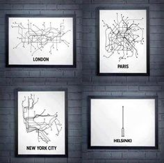 metro map London, Paris, New York, Warsaw