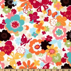 Moda Fabric, Just wing it Twill Blossoms and Butterflies Multi, $9.48/yard at Fabric.com
