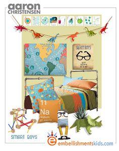 geek chic, science boys room decor mood board
