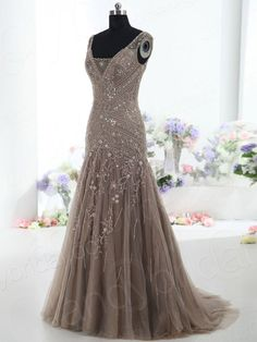 Classic Trumpet-Mermaid V Neck Natural Court Train Tulle Brown Sleeveless Wholesale Mother Of The Bride Dress with Beading BMMC0009