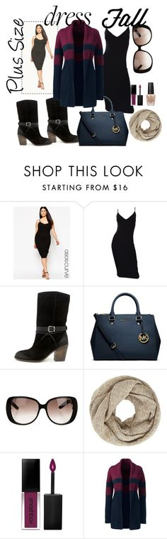 """""""Dress Fall"""" by raysagomez ❤ liked on Polyvore featuring ASOS Curve, Michael Kors, Mia Limited Edition, Gucci, John Lewis, Smashbox, Lands' End, OPI, ASOS and plus size clothing"""