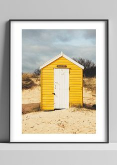 Limited edition signed photographic print by Anna Partington - 'The yellow hut' - A bright yellow beach hut in Suffolk Privacy Settings, Pink Rose Flower, Black Leaves, Epson, Days Out, Scenery, Anna, Bright Yellow, Beach