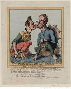 """""""Birth of Bonoparte."""" Caricature of Napoleon's birth, published October 20, 1813 in London by R. Ackermann. It mocks the myths surrounding Napoleon's birth. Source: Gallica.bnf.fr/Bibliothèque nationale de France"""