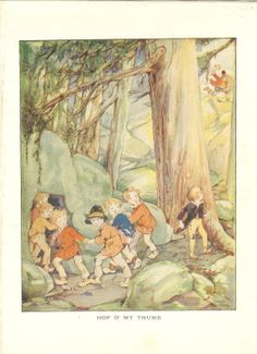 Vintage Children's Fairy Tale Print 1920's Hop O My Thumb Seven Brothers Young Boys Hide In Cave Ogre With Club Book Illustration Book Plate