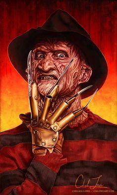 "Horror Movie Art : A Nightmare On Elm Street 1984 ""Freddy Krueger"" by Chelsea Lowe"
