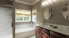 Don't skimp on your master bath. Must-haves include: Double vanity, spa shower & separate tub. ‎We Build For Life at UBH.