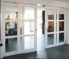 or sliders slide past fixed side panels The Doors, Windows And Doors, Home Interior Design, Interior Architecture, Door Design, House Design, Internal Sliding Doors, Room Divider Doors, Glass Room Divider