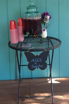 """60th Birthday party ideas. Made a sign to go along alcohol beverage that said """"Aged to Perfection""""."""