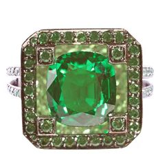 Solange Tsavorite Gold Ring | From a unique collection of vintage more rings at https://www.1stdibs.com/jewelry/rings/more-rings/