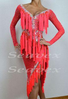 Only One Size  ChaCha Latin Samba Ramba Dance Dress US 8 UK 10 Orange Beads