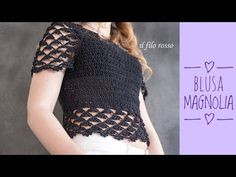 "BLUSA TOP DOWN UNCINETTO ""MAGNOLIA"" - YouTube Crochet Cardigan, Crochet Top, Crochet Woman, Summer Patterns, Yarn Crafts, Crochet Patterns, Crop Tops, Knitting, Sweaters"