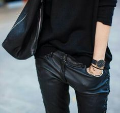 Love the whole outfit...Black watch. Pants. Shirt. Bag.