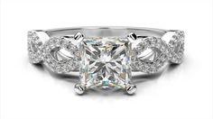 Zlatý zásnubný prsteň TALA z bieleho zlata 14 karátové briliant princezná solitaire s postrannými diamantmi