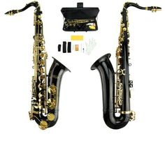 Merano B Flat Black / Gold Tenor Saxophone with Case,Reed,Mouth Piece ...