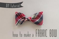 So after Saturday's bow-spiration moodboard, I'm sure you're itching to  make yourself one or two or a thousand. Well, no need to fear, here is a  quick and easy tutorial for making your own fabric bow. It might look like  a lot of steps but it's really fast and easy. And, it only takes a little  bit of fabric. I used scraps leftover from this refashion. Let's get  started! Step 1: Cut one piece of fabric 4 x 8 inches and one piece 4 x 1.5 inches.  The small piece will be the center band…