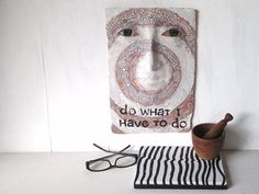 Ceramic wall sculpture white face art tile by LouiseFultonStudio