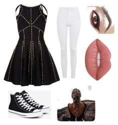 """""""Fashion  Day"""" by nicolekt on Polyvore featuring Topshop, Converse and Lime Crime"""