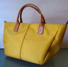 Lands End Yellow Canvas And Leather Tote Handbag
