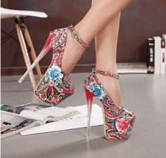 Ultra High Ankle Strap Platform Heels Pumps Shoes
