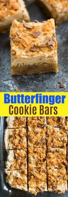 Cookie Bars Soft and chewy Butterfinger Cookie Bars with a light, creamy Butterfinger frosting. Recipe from via and chewy Butterfinger Cookie Bars with a light, creamy Butterfinger frosting. Recipe from via Köstliche Desserts, Delicious Desserts, Dessert Recipes, Yummy Food, Finger Desserts, Butter Finger Dessert, Frosting Recipes, Buttercream Frosting, Gourmet Recipes