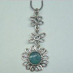 Sterling silver floral roman glass pendant necklace Israeli handwork flowers by Bluenoemi on Etsy https://www.etsy.com/listing/97295206/sterling-silver-floral-roman-glass