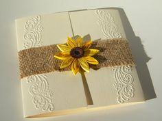 Jute Sonnenblume Einladung / Landhaus Sonnenblume Einladung by ZannaPaper | Etsy