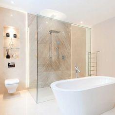 Modern Luxury Bathroom, Classic Bathroom, Bathroom Design Luxury, Modern Bathroom Decor, Bathroom Styling, Wet Room Bathroom, Beige Bathroom, Bathroom Layout, Shower Tiles