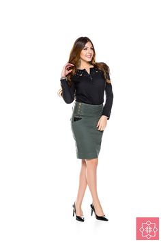 Saia Franzido Verde Nítido Jeans  #viaevangelica #nitidojeans #modaevangelica #modafeminina
