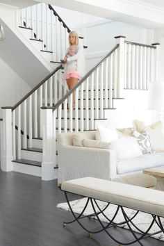 Ideas for Painting Stair Banisters . Ideas for Painting Stair Banisters . Open Railing with Hardwood Stairs We Love How the Dark Wood Staircase Railings, Wood Stairs, Banisters, Staircase Design, Open Basement Stairs, Painted Staircases, Open Stairs, Stair Case Railing Ideas, Stair Bannister Ideas