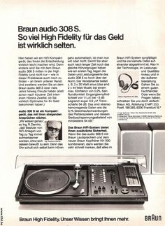 1975 Braun Audio 308S German,Ad. Design by Dieter Rams in 1973