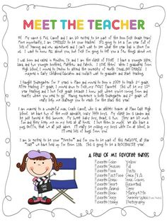Meet the teacher letter - love the idea of a favorites list