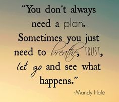 You don't always need a plan. Breathe, take a leap of faith and let go. #anxiety #breathe #courage