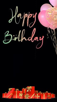Birthday presents appear and disappear with Happy Birthday text and balloons above. Happy Birthday Greetings Friends, Happy Birthday Wishes Photos, Birthday Wishes Greetings, Happy Birthday Cake Images, Happy Birthday Wishes Images, Happy Birthday Wallpaper, Happy Birthday Video, Birthday Wishes Flowers, Happy Birthday Celebration