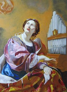 Saint Cecilia (circa Simon Vouet (French, Baroque, Oil on canvas. The Blanton Museum of Art. Saint Cecilia is known as the patron saint of music and musicians. At her wedding, while the musicians played, Saint Cecilia sang to the. Catholic Art, Catholic Saints, Patron Saints, Religious Art, Patron Saint Of Music, Blanton Museum, Sainte Cecile, Google Art Project, Sacred Art