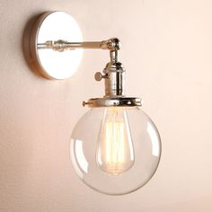 SMALL VINTAGE INDUSTRIAL BRUSHED SCONCE LAMP GLOBE GLASS SHADE LOFT WALL LIGHT