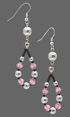 Earrings with SWAROVSKI ELEMENTS and Seed Beads