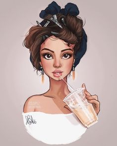 """Iced white chocolate mocha☕️✨ i think this time I captured her facial features better than in the last one omg #progress"""