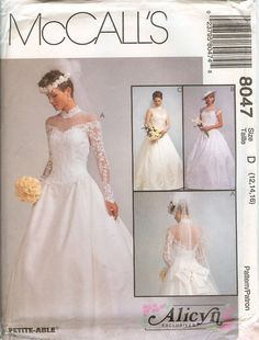 McCalls 8047 Alicyn Bridal Wedding Gown Dress sewing pattern UNCUT FF basque  #McCalls8047 #AlicynBridalWeddingGownDressBride