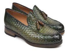 Paul Parkman Woven Leather Tassel Loafers Green Shoes (ID Gucci Loafers Women, Loafers Men, Loafers Outfit, Tassel Loafers, Brown Loafers, Penny Loafers, Leather Tassel, Leather Men, Leather Jackets