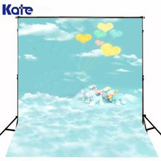 200CM*150CM backgrounds Peach balloons dancing horses clouds of heaven photography backdrops photo LK 1296