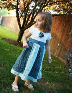 This is a darling way to re-purpose a shirt and skirt into a dress for a little girl.