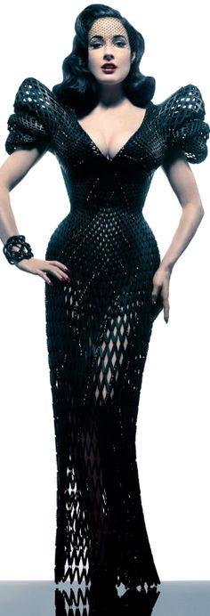 World's first 3D printed dress by Michael Schmid - model Dita von Teese